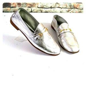 Zara Metallic Loafers Size 7.5